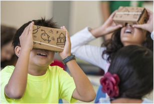 Students using Google Cardboard in the classroom photo